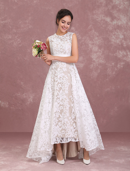Milanoo Champagne Wedding Dresses Lace High Low Beach Bridal Dress Pleated Sash Asymmetrical Wedding Gown