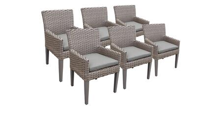 Monterey Collection MONTEREY-TKC297b-DC-3x-C 6 Dining Chairs With Arms - 1 Set of Grey