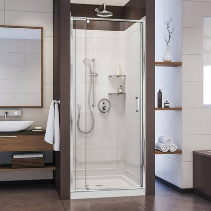 DL-6217C-01CL Flex 32 In. D X 32 In. W Semi-Frameless Pivot Shower Door In Chrome With Center Drain White Base And Backwall