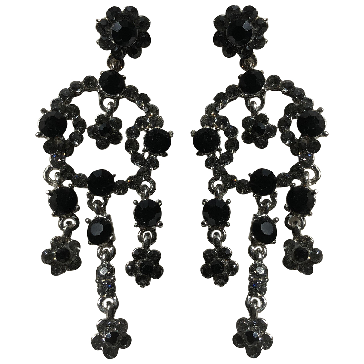 - Boucles doreilles Motifs Floraux pour femme en perles - argente