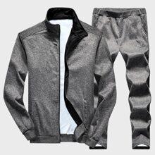 Men Embroidery Zip Through Sweatshirt With Pants