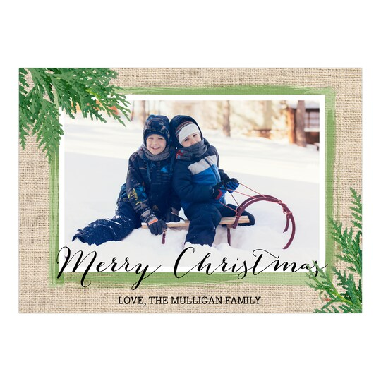 Gartner Studios® Personalized Burlap With Greens Holiday Photo Card   Michaels®