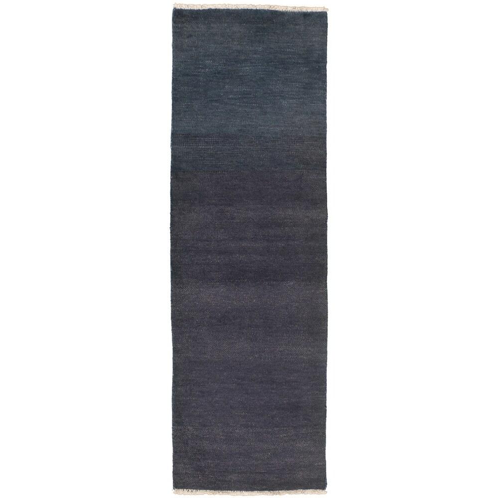 ECARPETGALLERY  Hand-knotted Pak Finest Gabbeh Wool Rug - 2'5 x 8'2 (Dark Navy - 2'5 x 8'2)