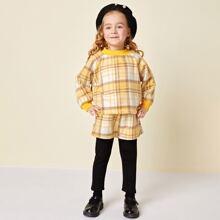 Toddler Girls Raglan Sleeve Plaid Sweatshirt & 2 In 1 Pants