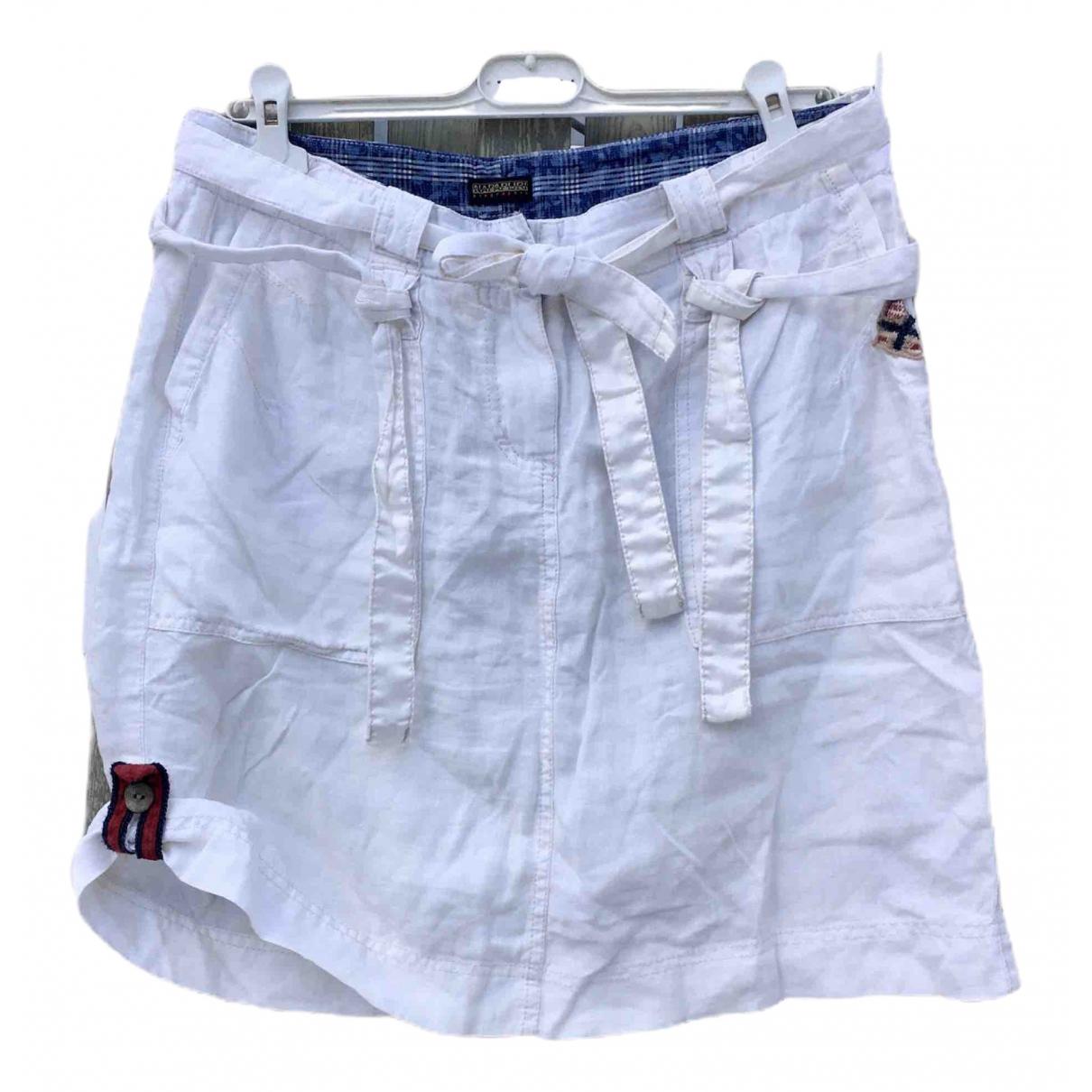 Napapijri \N White Linen skirt for Women 44 FR