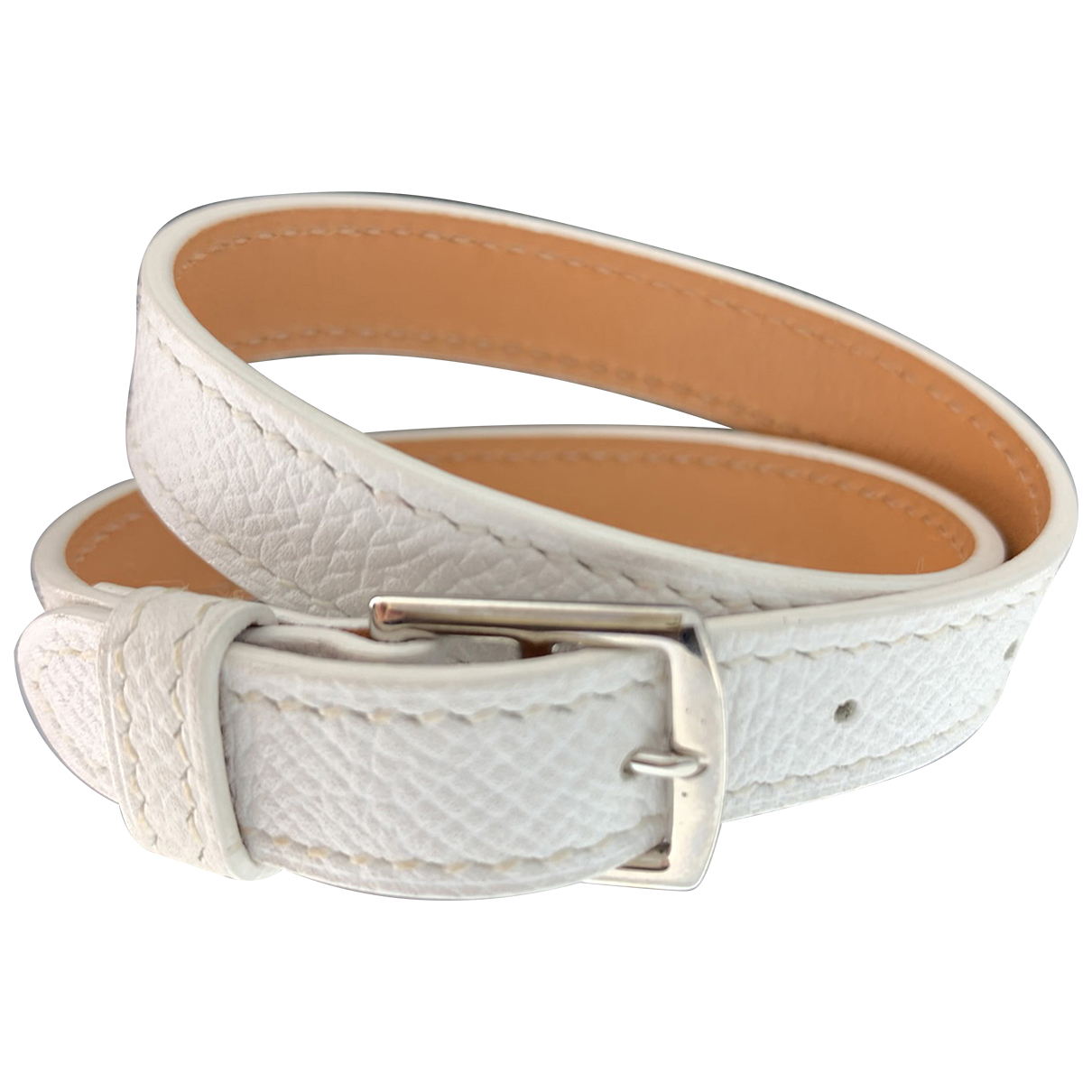 Hermes Etriviere Armband in  Weiss Leder