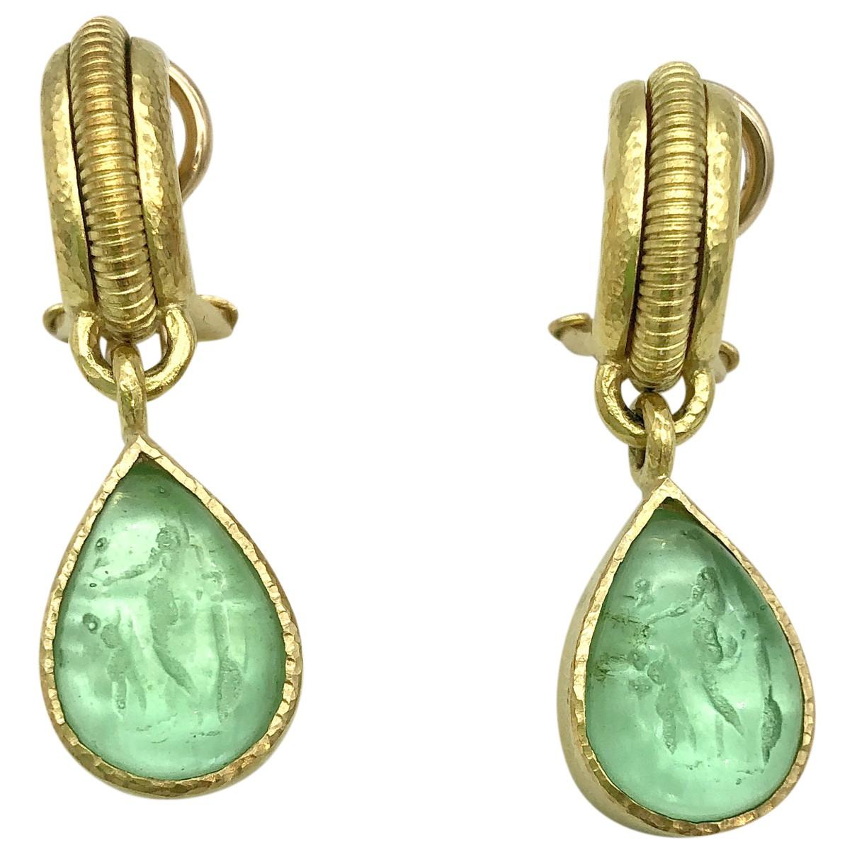 Autre Marque - Boucles d'oreilles   pour femme en or jaune - vert