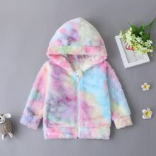 Toddler Girls Tie Dye 3D Ears Zip Up Hooded Flannel Sweatshirt