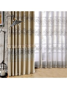 Elegant Embroidery Decoration Sheer Curtains for Living Room Custom 2 Panels Breathable Drapes No Pilling No Fading No off-lining