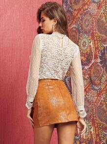 Sheer Dobby Mesh Sleeve Guipure Lace Top