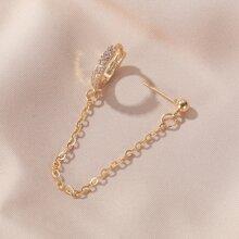 1pc Rhinestone Decor Chain Decor Earring