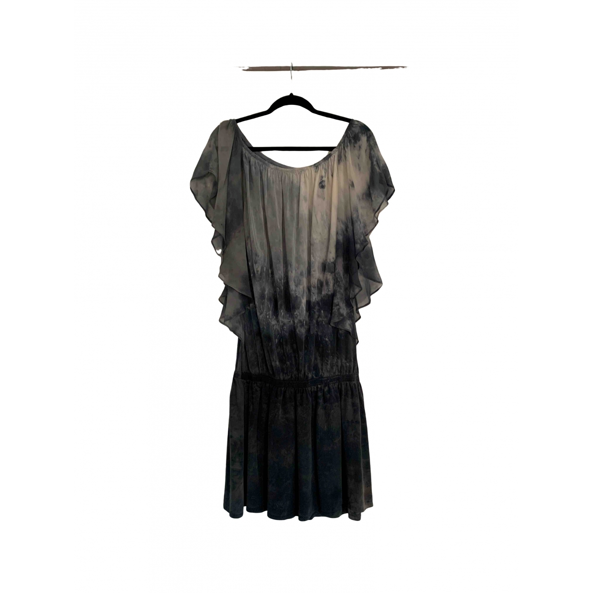 Non Signé / Unsigned Hippie Chic Anthracite Silk dress for Women L International