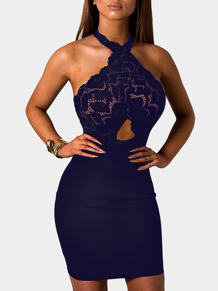 Yoins Navy See-through Lace Insert Cut Out Halter Mini Dress