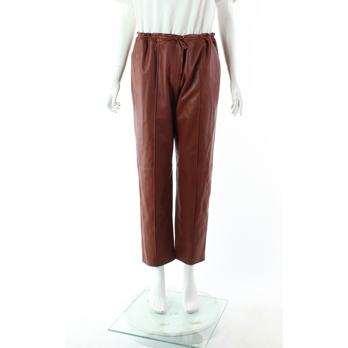 Yves Salomon \N Burgundy Leather Trousers for Women 40 FR