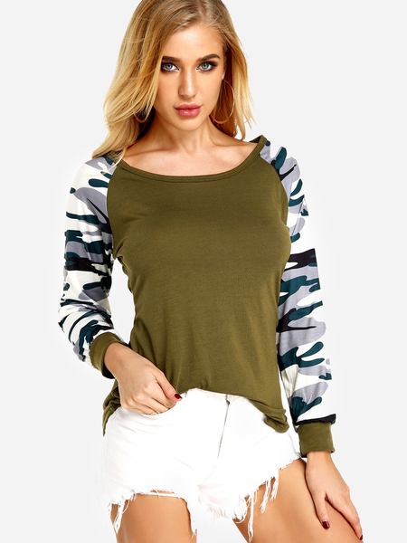 Yoins Army Green Camouflage Crew Neck Long Raglan Sleeves T-shirt