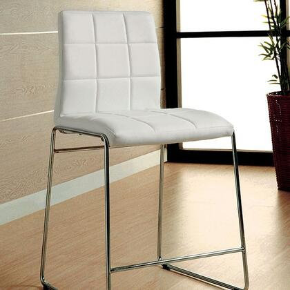 Kona II Collection CM8320WH-PC-2PK Set of 2 Counter Height Padded Leatherette Chair with Chrome Legs in