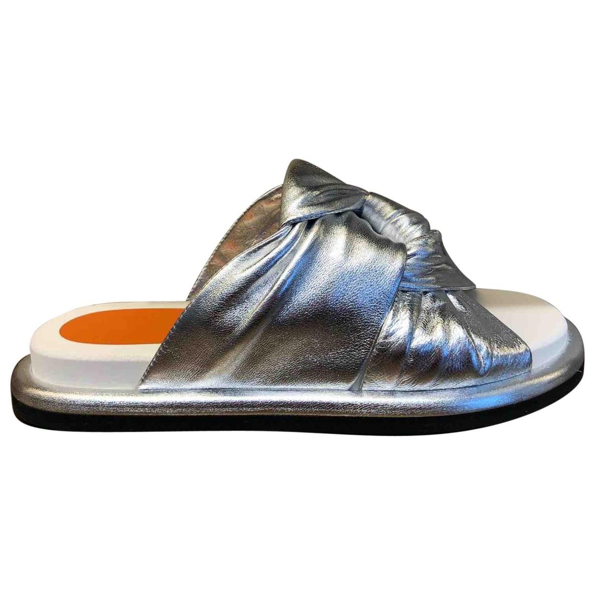 Santoni \N Sandalen in  Silber Leder