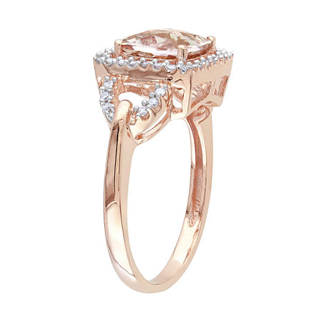 Genuine Morganite and Diamond 10K Rose Gold Ring, 7 , No Color Family