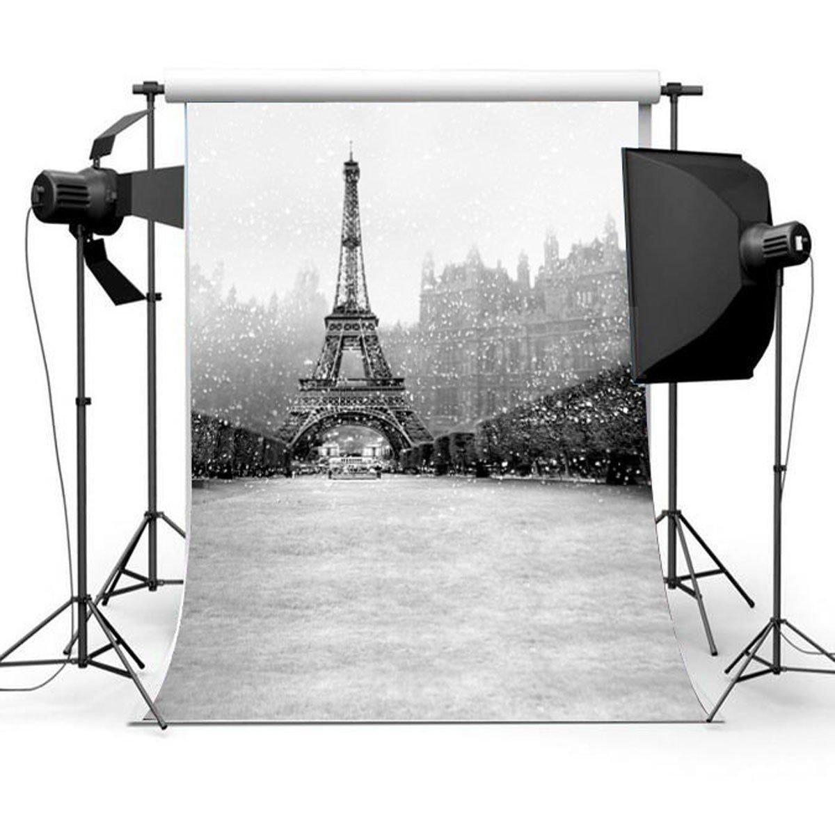 3x5FT Snow Eiffel Tower Photography Backdrops Studio Photo Background Vinyl Landscape