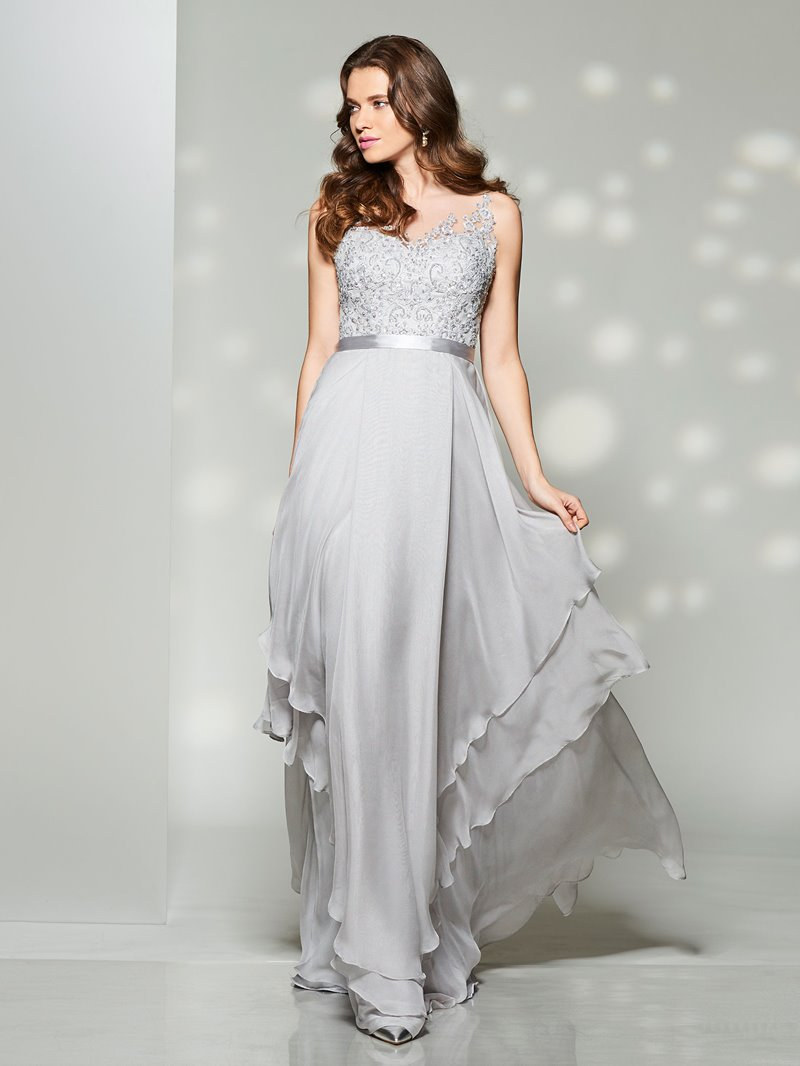 Ericdress A Line Layer Lace Applique Long Prom Dress