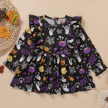 Kleid mit Halloween Muster und Ruesche