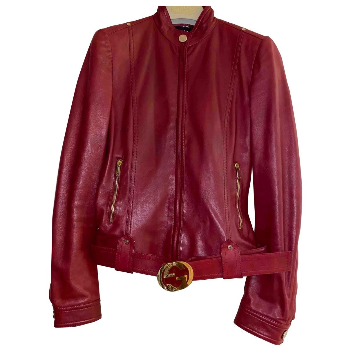 Gucci \N Lederjacke in  Rot Leder