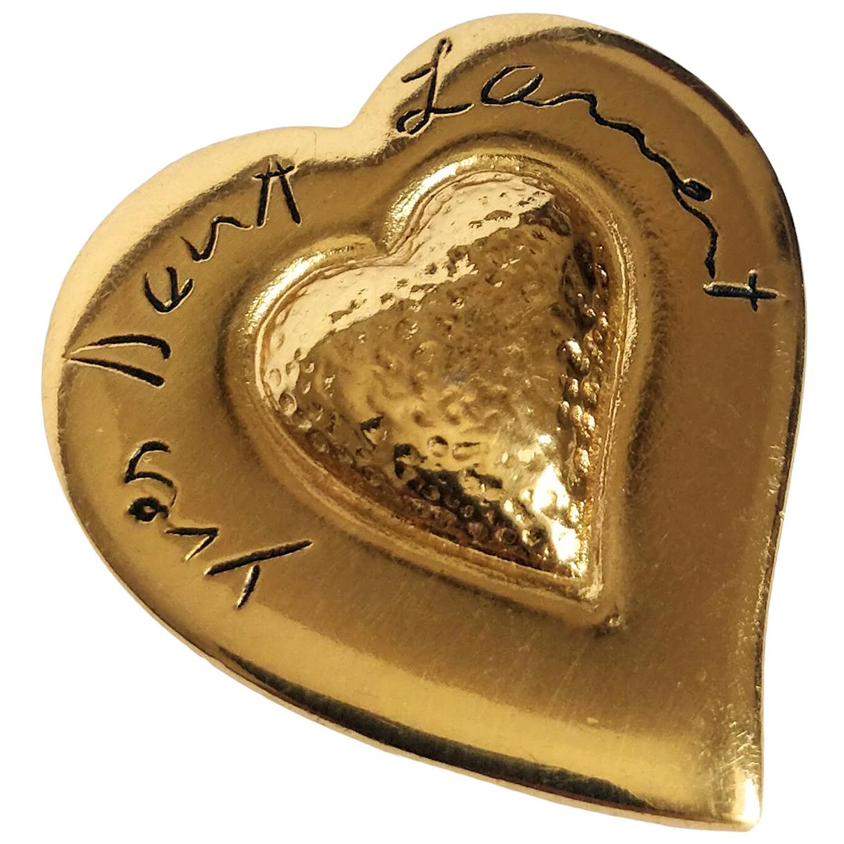Yves Saint Laurent - Broche   pour femme en metal - dore