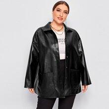 PU Leder Mantel mit einreihiger Knopfleiste und Taschen Flicken