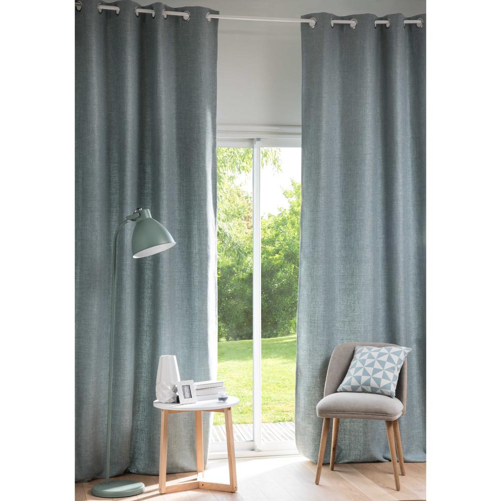 Osenvorhang aus blaugrauem Stoff, 1 Vorhang 130x300
