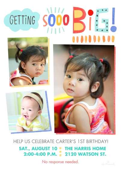 1st Birthday Invitations Flat Matte Photo Paper Cards with Envelopes, 5x7, Card & Stationery -Getting So Big
