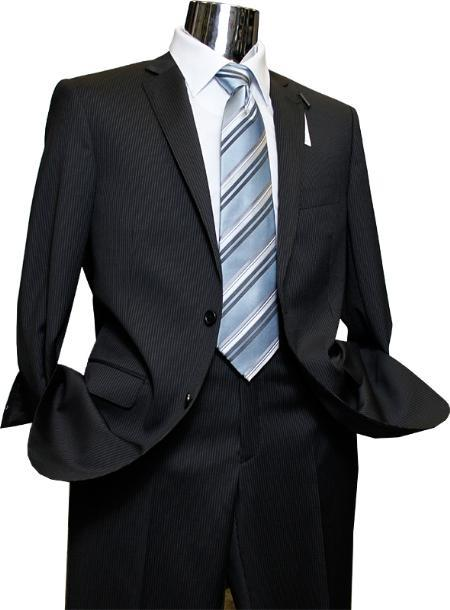 Mens Quality 2 Buttons Portly Suits and Black Stripe Pinstripe