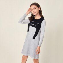 Girls Cartoon Cat Graphic Sweater Dress