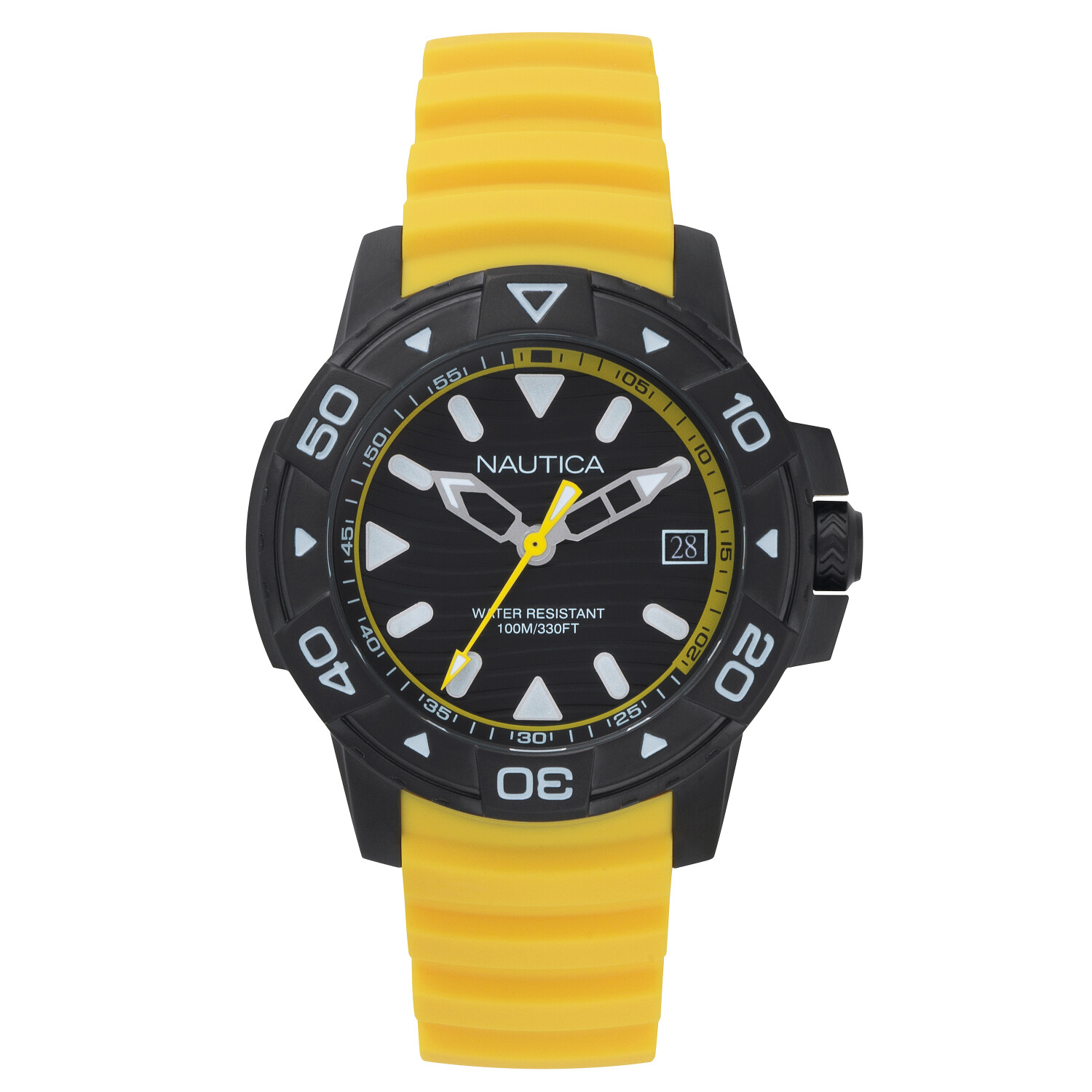 Nautica Watch NAPEGT004 Edgewater, Analog, Water Resistant, Silicone Band, Adjustable Buckle, 3 Hand Automatic Movement, Yellow