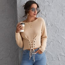 Drop Shoulder Eyelet Lace Up Knot Sweater