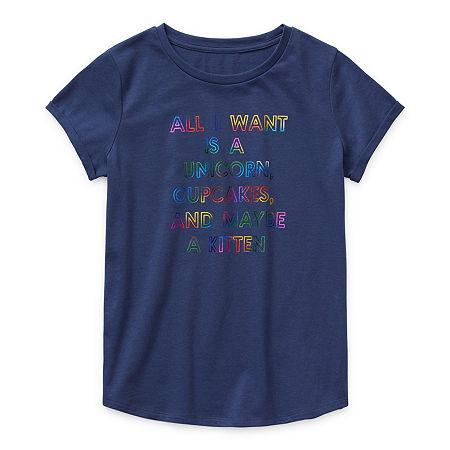 Arizona Little & Big Girls Round Neck Short Sleeve Graphic T-Shirt, Xx-small (4-5) , Blue
