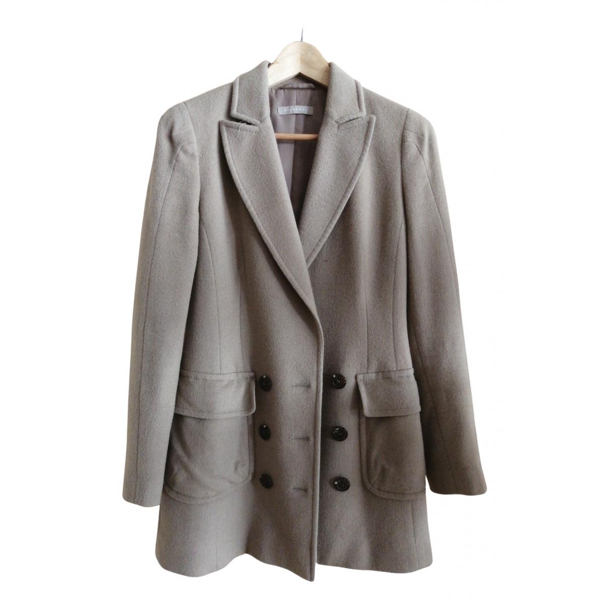Stefanel - Manteau   pour femme en laine - camel