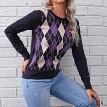 Pullover mit Argyle Grafik und rundem Kragen