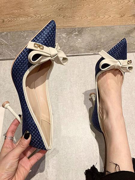 Milanoo Women\'s High Heels Slip-On Pointed Toe Stiletto Heel Bows Deep Blue Office