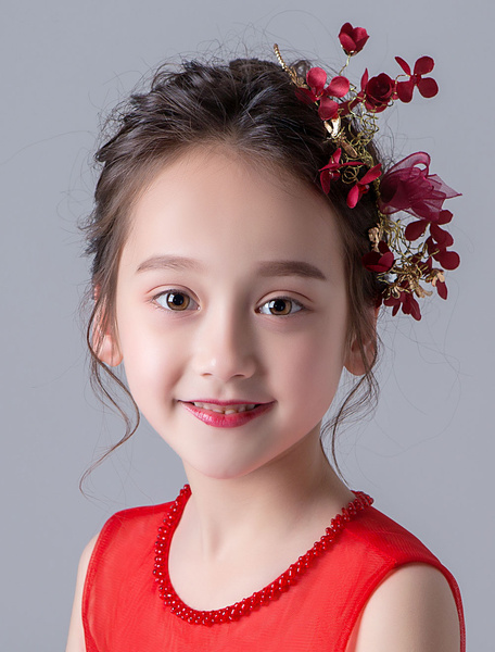 Milanoo Flower Girl Hair Accessories Red Kids Rhinestones Little Girls Hair Pieces