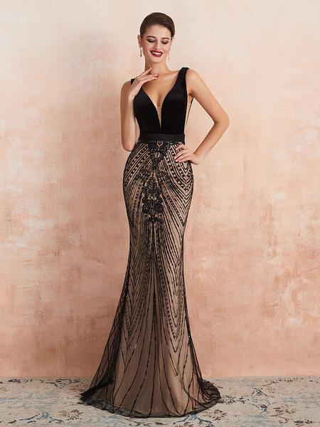 Milanoo Evening Dress 2020 Mermaid Black Beaded Sleeveless V Neck Formal Party Dresses With Train