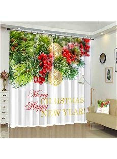 Merry Christmas Pine Needle Decorative Curtain for New Year