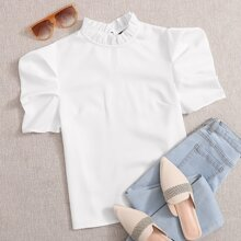 Frill Mock Neck Puff Sleeve Top