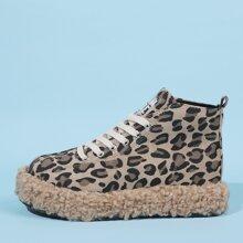 Botas con cordon de leopardo con pelo sintetico