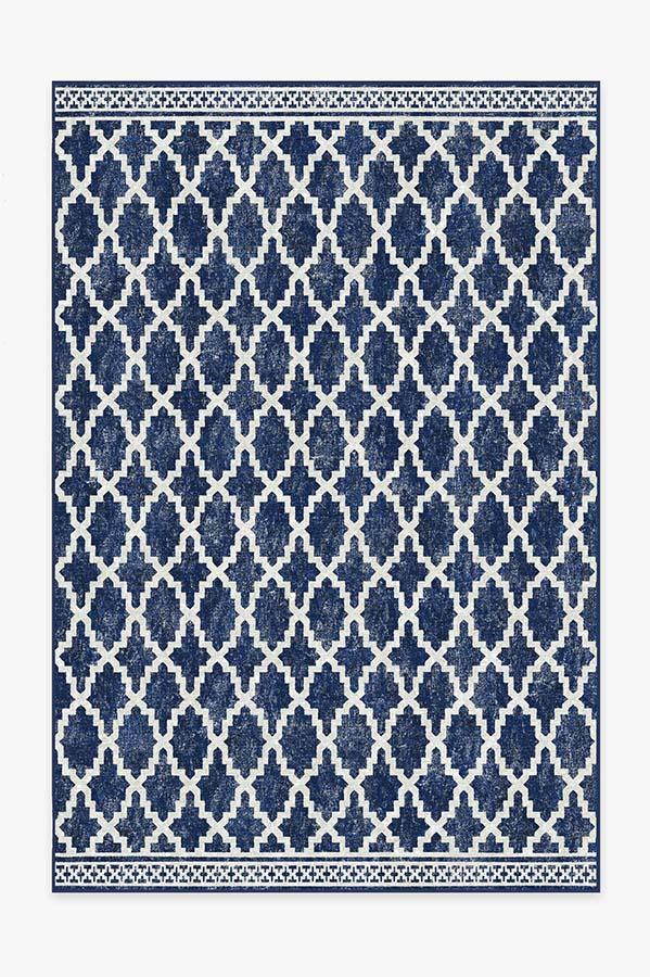 Washable Rug Cover | Outdoor Cleo Trellis Royal Blue Rug | Stain-Resistant | Ruggable | 6x9