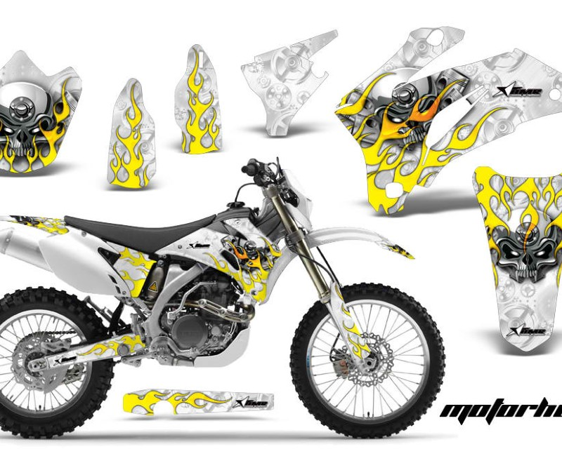 AMR Racing Dirt Bike Graphics Kit Decal Wrap For Yamaha WR250F 2007-2014 WR450F 2007-2011áMOTORHEAD WHITE