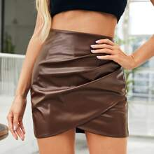 Ruched Detail Wrap Asymmetrical PU Leather Skirt