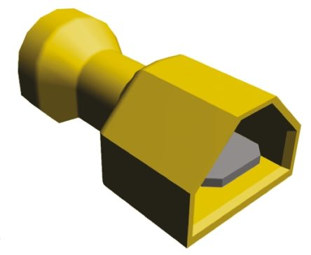 TE Connectivity , Ultra-Fast .250, Yellow Insulated Crimp Tab Terminal, 3mm² to 6mm², 12AWG to 10AWG, 6.3 x 0.8mm, Tin (100)