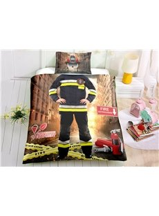 3D Fireman Cosplay 3-Piece Duvet Cover Set with 2 Pillowcases