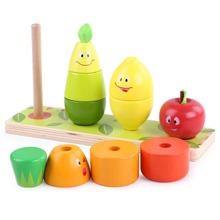 11 Stuecke Baby Bausteine Spielzeug mit Karikatur Obst Design