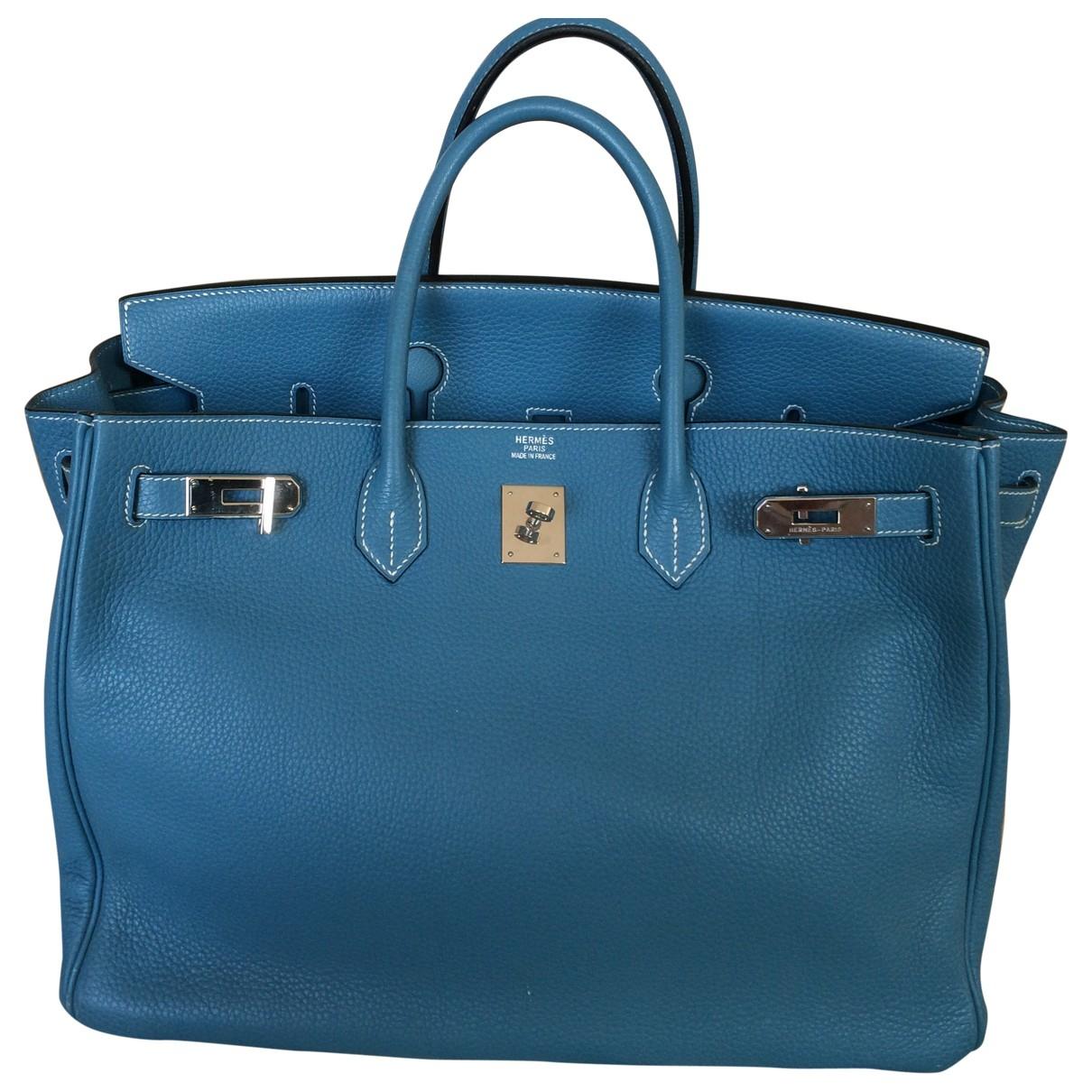 Hermes Birkin 40 Handtasche in  Blau Leder